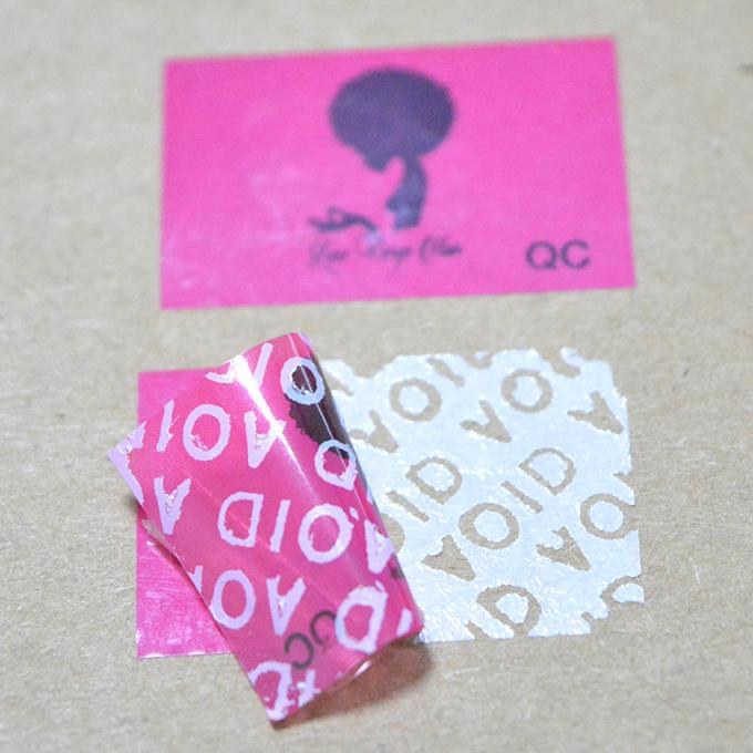 Pink PET Evident VOID Labels Custom Size For Hairpiece Bag adhesive packing Sticker