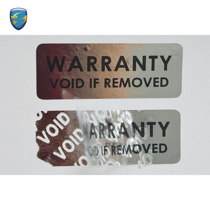 Silver Metalized PET Foil Void Tamper Evident Security Void If Removed Sticker Pet Vinyl
