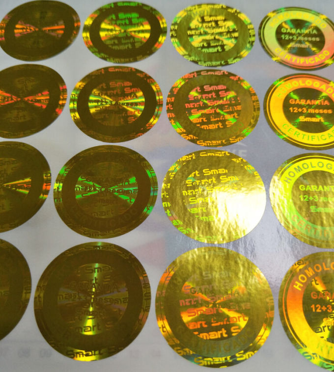 Gold lasering hologram sticker factory made pure 3D holographic sticker seal like the picture